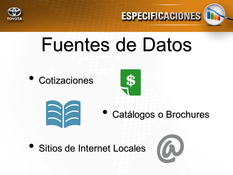Fuentes de Datos Cotizaciones Catálogos o Brochures