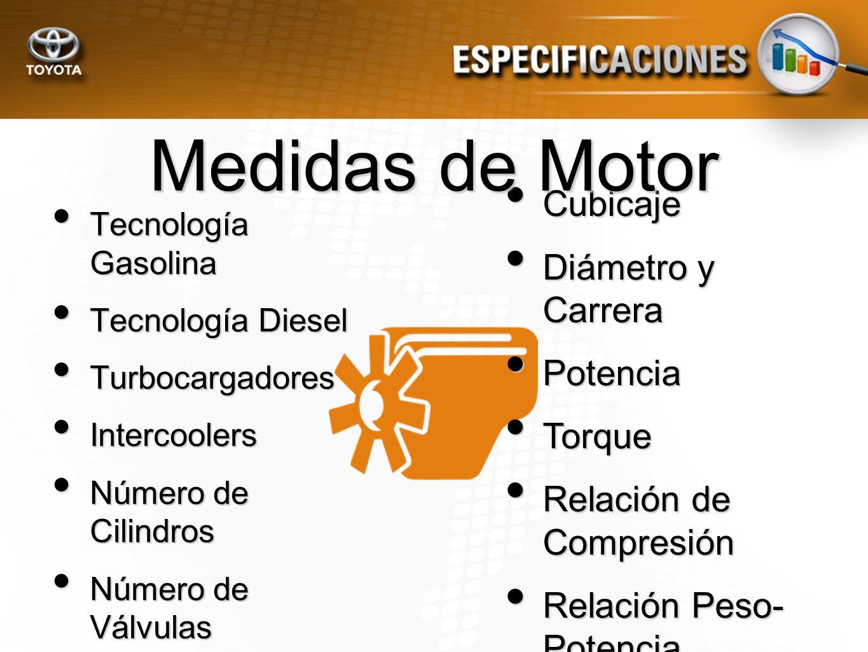 Medidas de Motor Cubicaje Diámetro y Carrera Potencia Torque