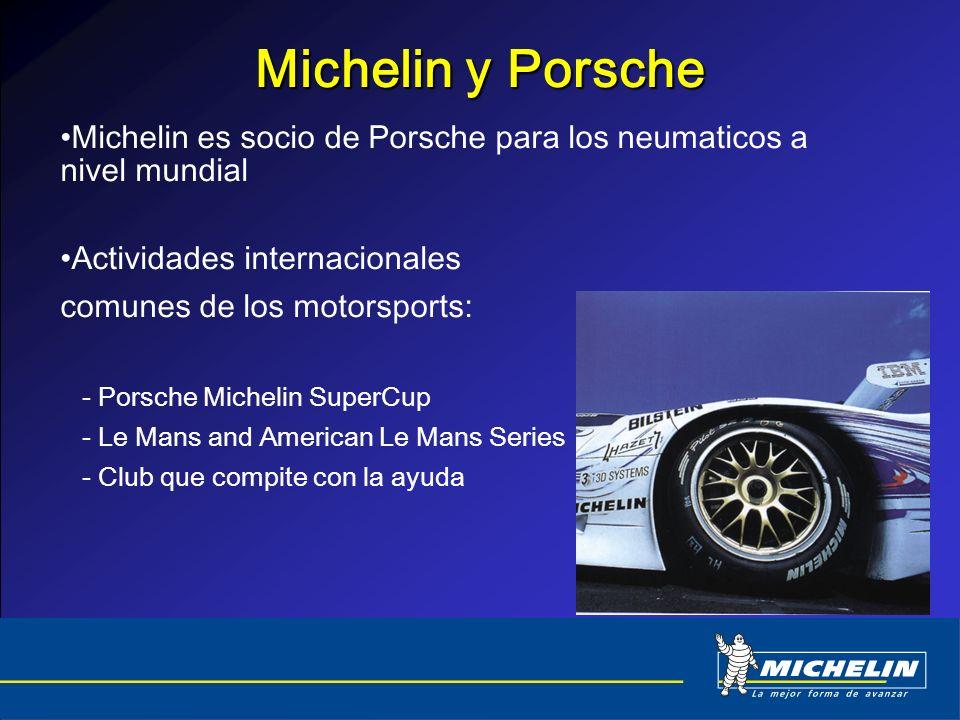 Michelin y Porsche Michelin es socio de Porsche para los neumaticos a nivel mundial. Actividades internacionales.