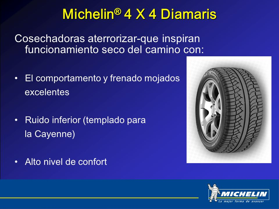 Michelin® 4 X 4 Diamaris Cosechadoras aterrorizar-que inspiran funcionamiento seco del camino con: El comportamento y frenado mojados.