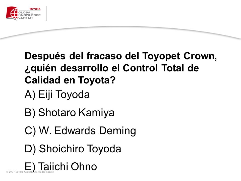 A) Eiji Toyoda B) Shotaro Kamiya C) W. Edwards Deming