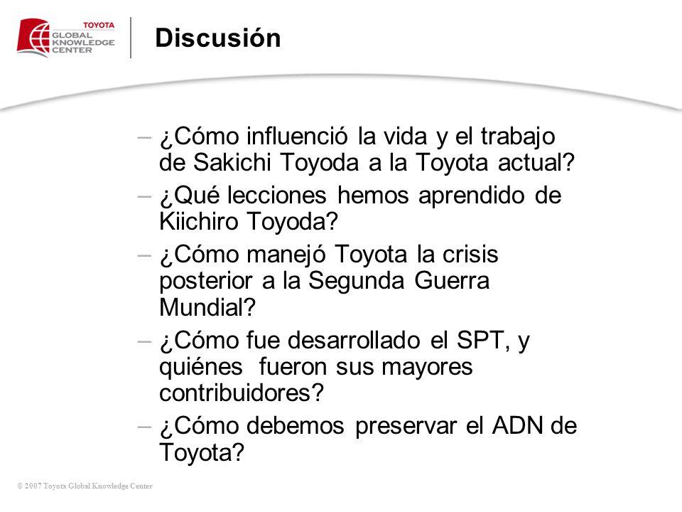 Discusión Mesa de Discusiones. (continúa). ¿Cómo influenció la vida y el trabajo de Sakichi Toyoda a la Toyota actual