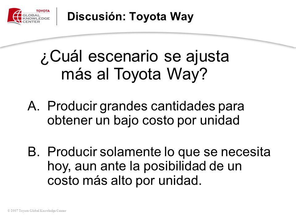 ¿Cuál escenario se ajusta más al Toyota Way