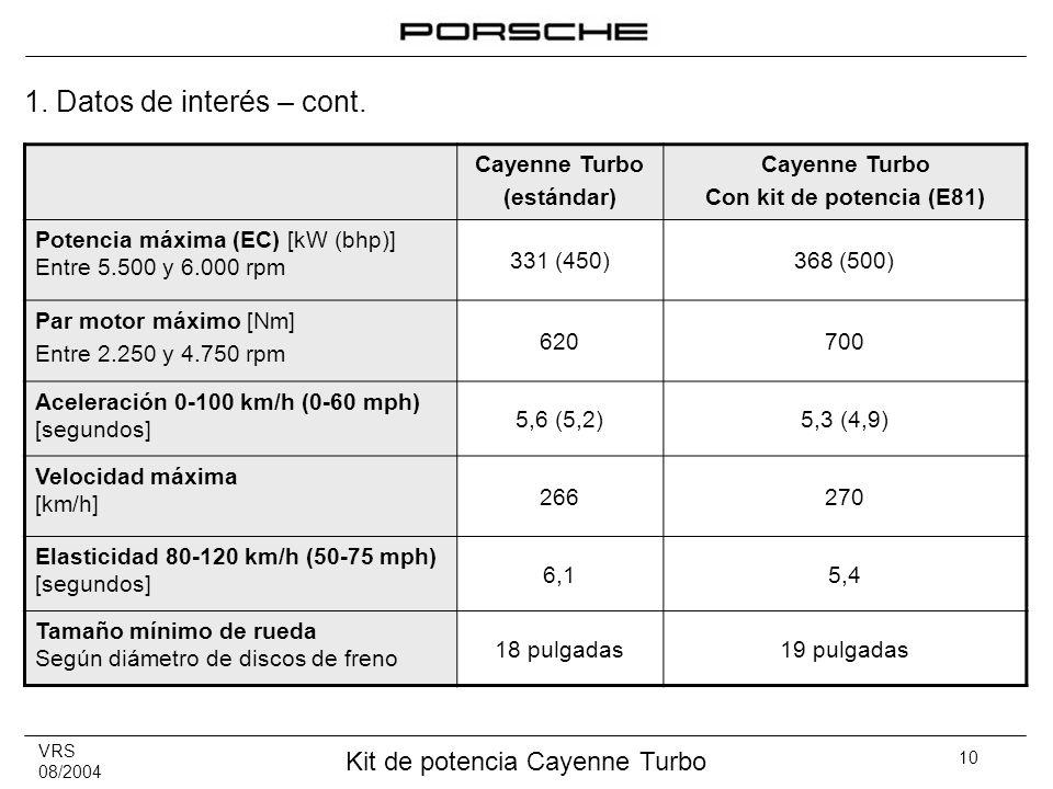 1. Datos de interés – cont. Cayenne Turbo (estándar)