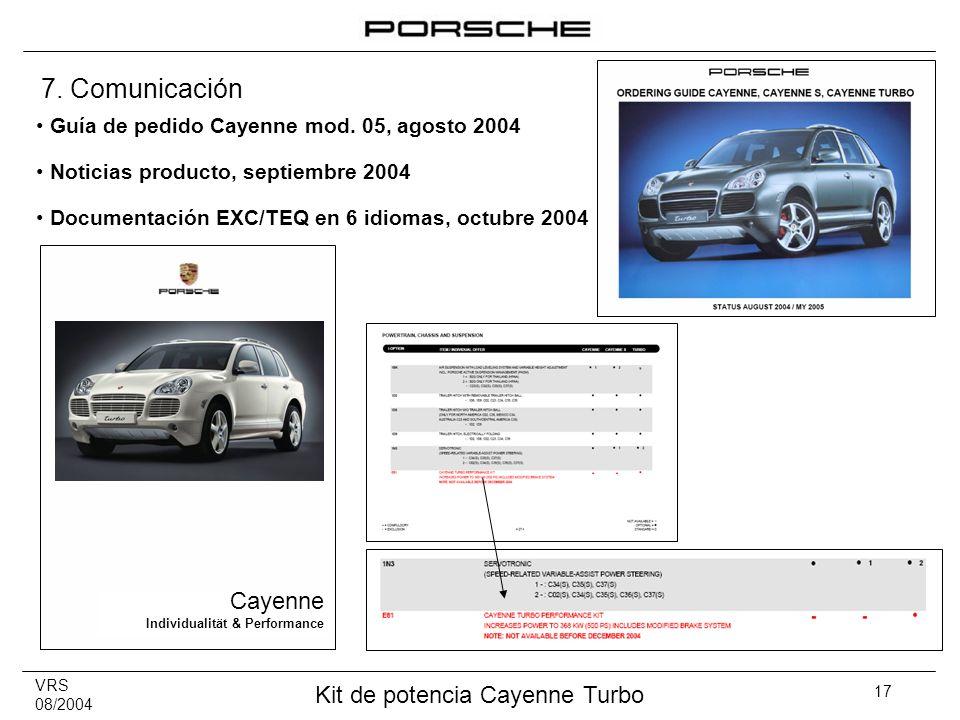 7. Comunicación Cayenne Guía de pedido Cayenne mod. 05, agosto 2004