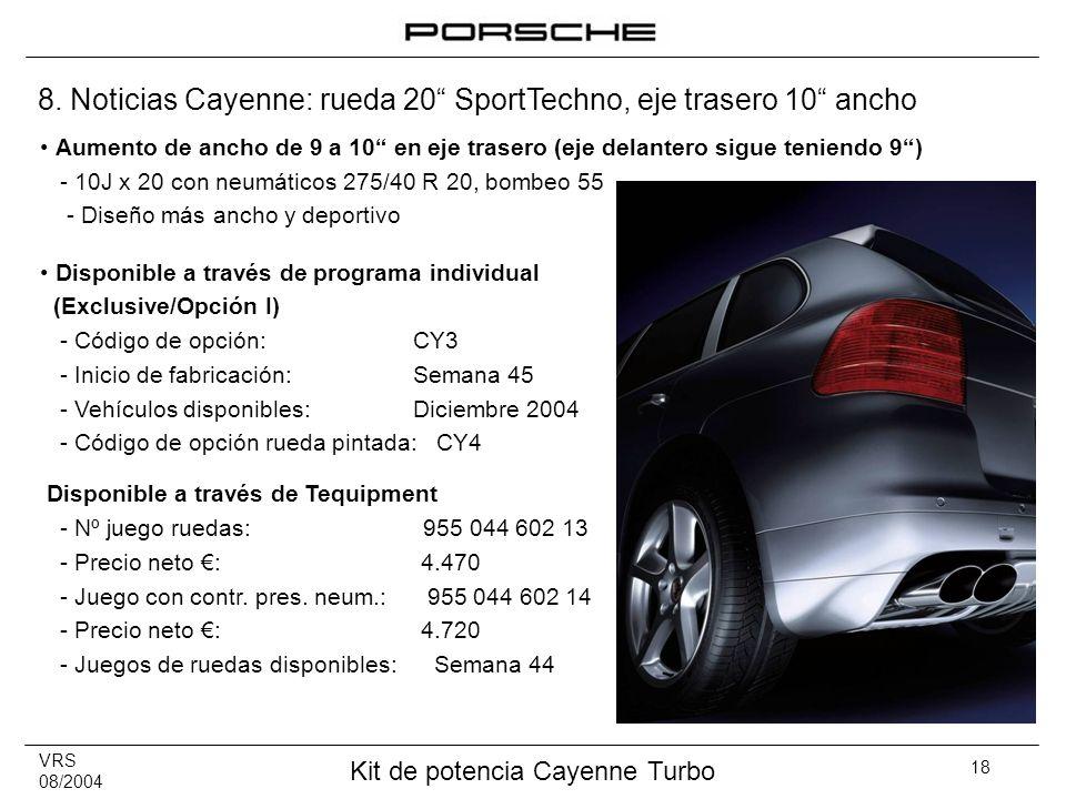 8. Noticias Cayenne: rueda 20 SportTechno, eje trasero 10 ancho
