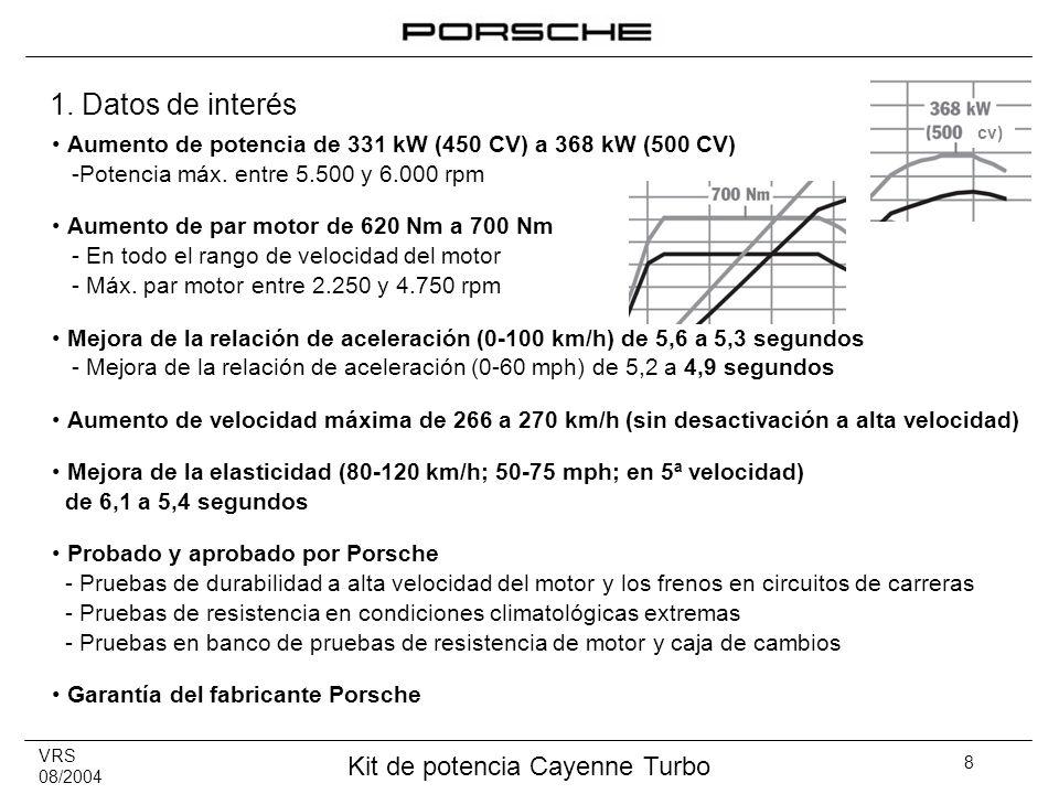 1. Datos de interés cv) Aumento de potencia de 331 kW (450 CV) a 368 kW (500 CV) -Potencia máx. entre 5.500 y 6.000 rpm.