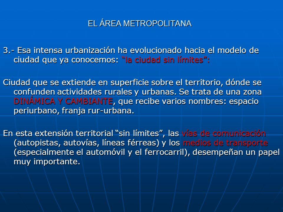 EL ÁREA METROPOLITANA3.- Esa intensa urbanización ha evolucionado hacia el modelo de ciudad que ya conocemos: la ciudad sin límites :