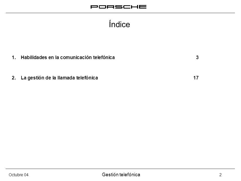 Índice Habilidades en la comunicación telefónica 3