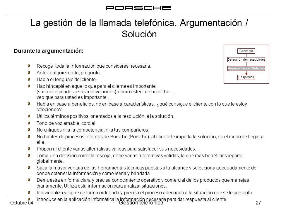 La gestión de la llamada telefónica. Argumentación / Solución