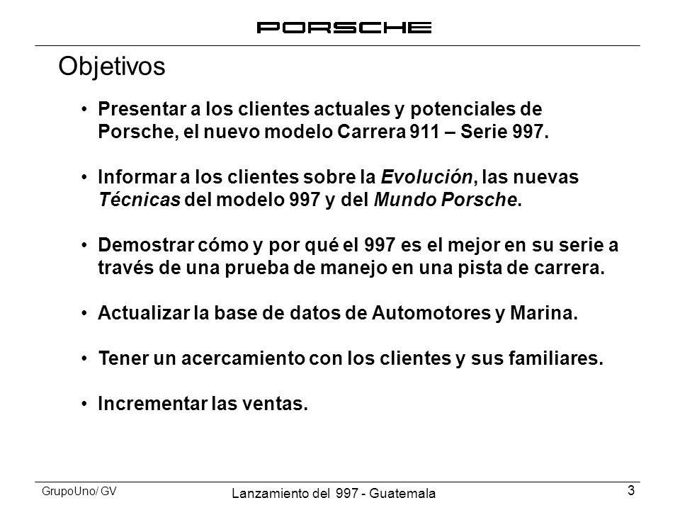Objetivos Presentar a los clientes actuales y potenciales de Porsche, el nuevo modelo Carrera 911 – Serie 997.