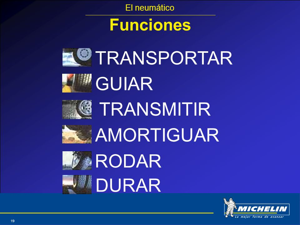 TRANSPORTAR GUIAR TRANSMITIR AMORTIGUAR RODAR DURAR Funciones