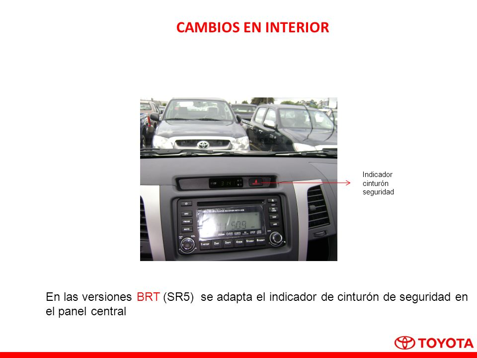 CAMBIOS EN INTERIORIndicador. cinturón. seguridad. En las versiones BRT (SR5) se adapta el indicador de cinturón de seguridad en.