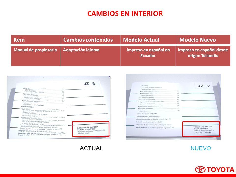 CAMBIOS EN INTERIOR Item Cambios contenidos Modelo Actual Modelo Nuevo