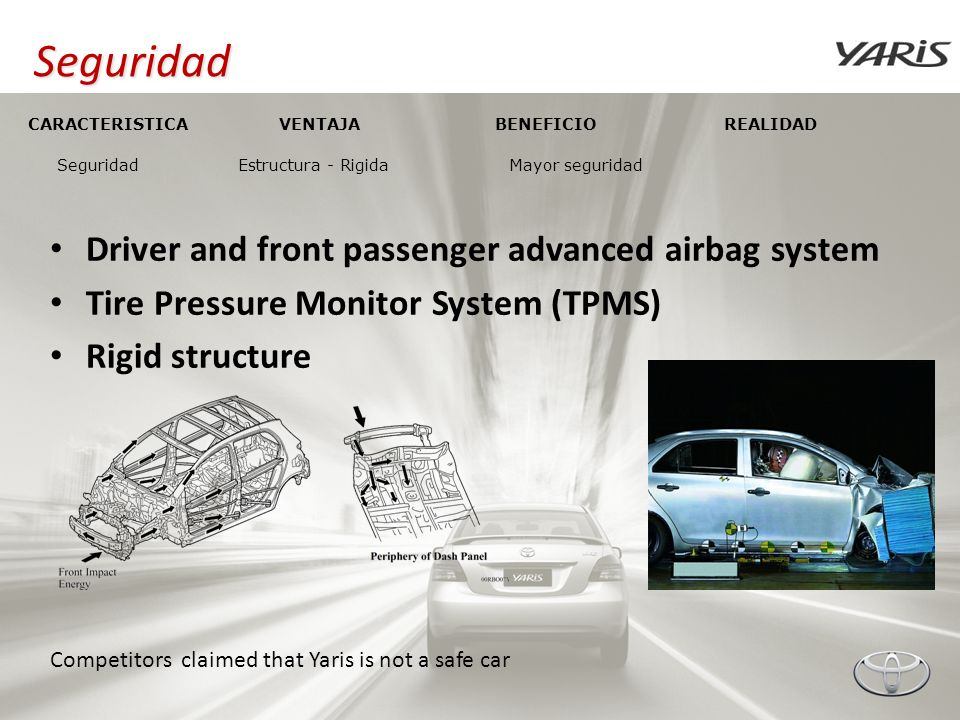 Seguridad Driver and front passenger advanced airbag system