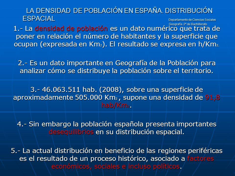 LA DENSIDAD. DE POBLACIÓN EN ESPAÑA. DISTRIBUCIÓN ESPACIAL