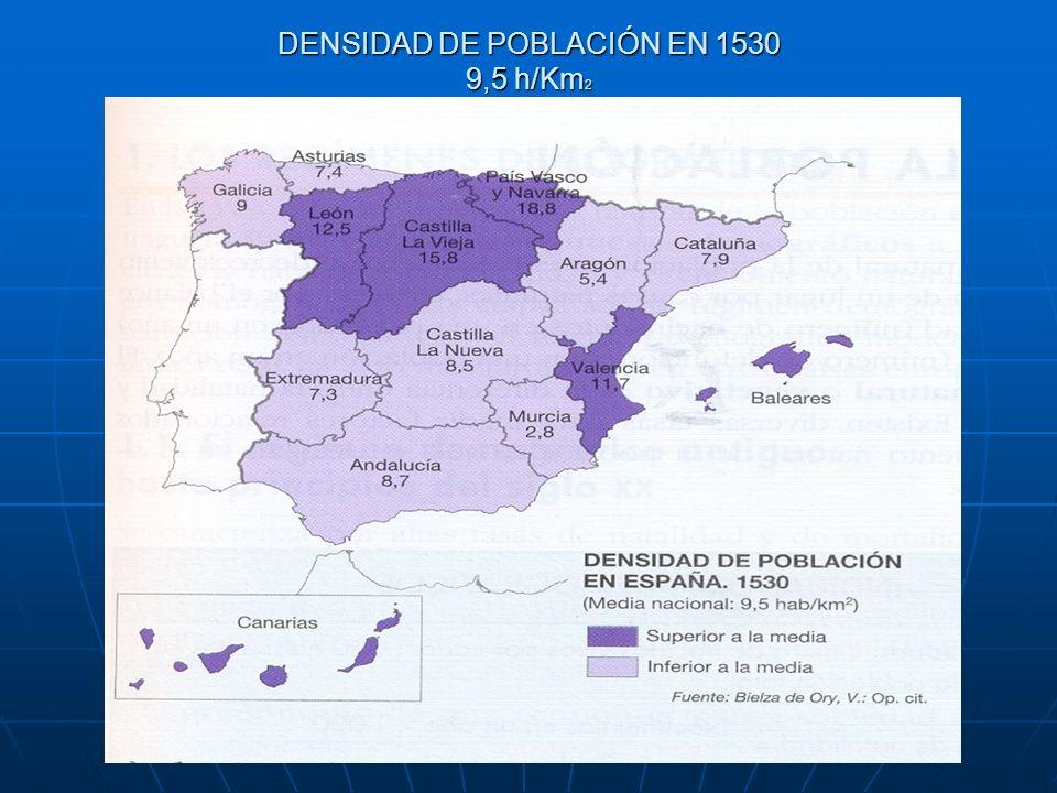 DENSIDAD DE POBLACIÓN EN 1530 9,5 h/Km2