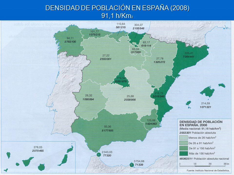 DENSIDAD DE POBLACIÓN EN ESPAÑA (2008) 91,1 h/Km2