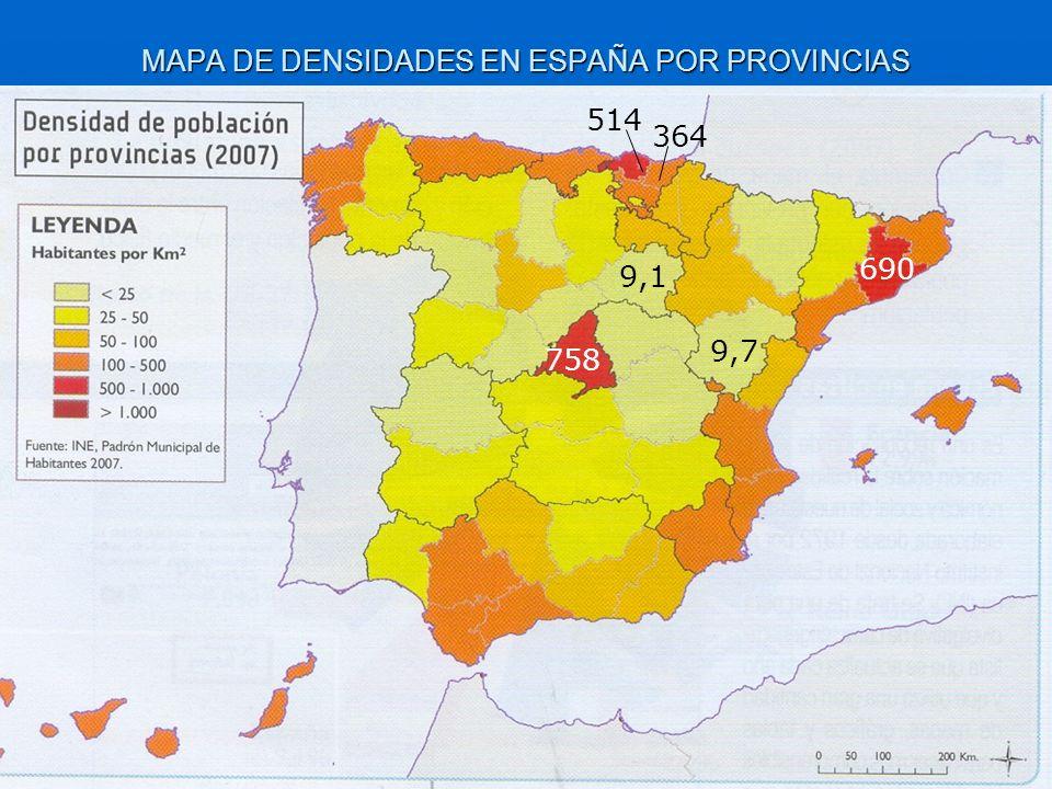 MAPA DE DENSIDADES EN ESPAÑA POR PROVINCIAS