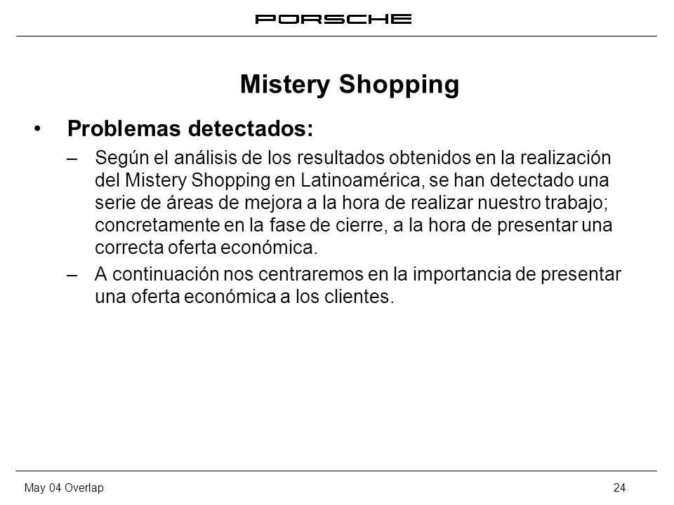 Mistery Shopping Problemas detectados: