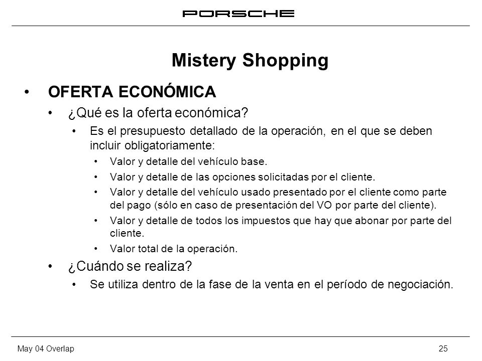 Mistery Shopping OFERTA ECONÓMICA ¿Qué es la oferta económica