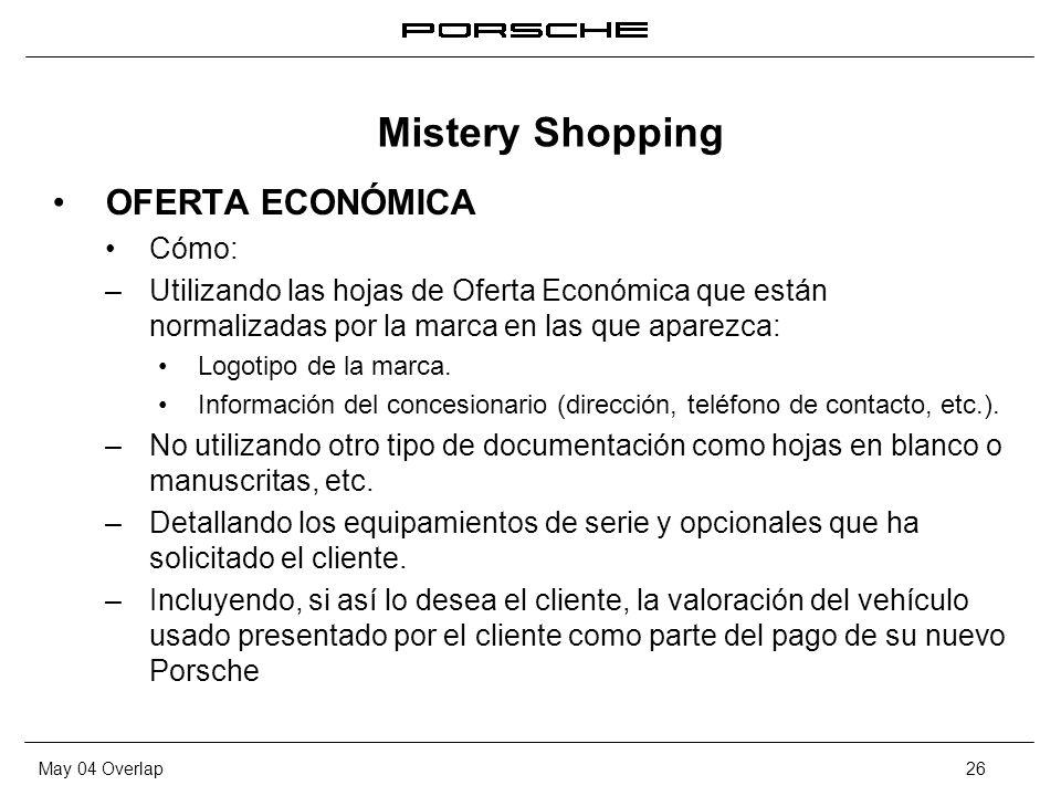 Mistery Shopping OFERTA ECONÓMICA Cómo: