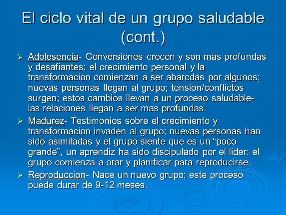El ciclo vital de un grupo saludable (cont.)