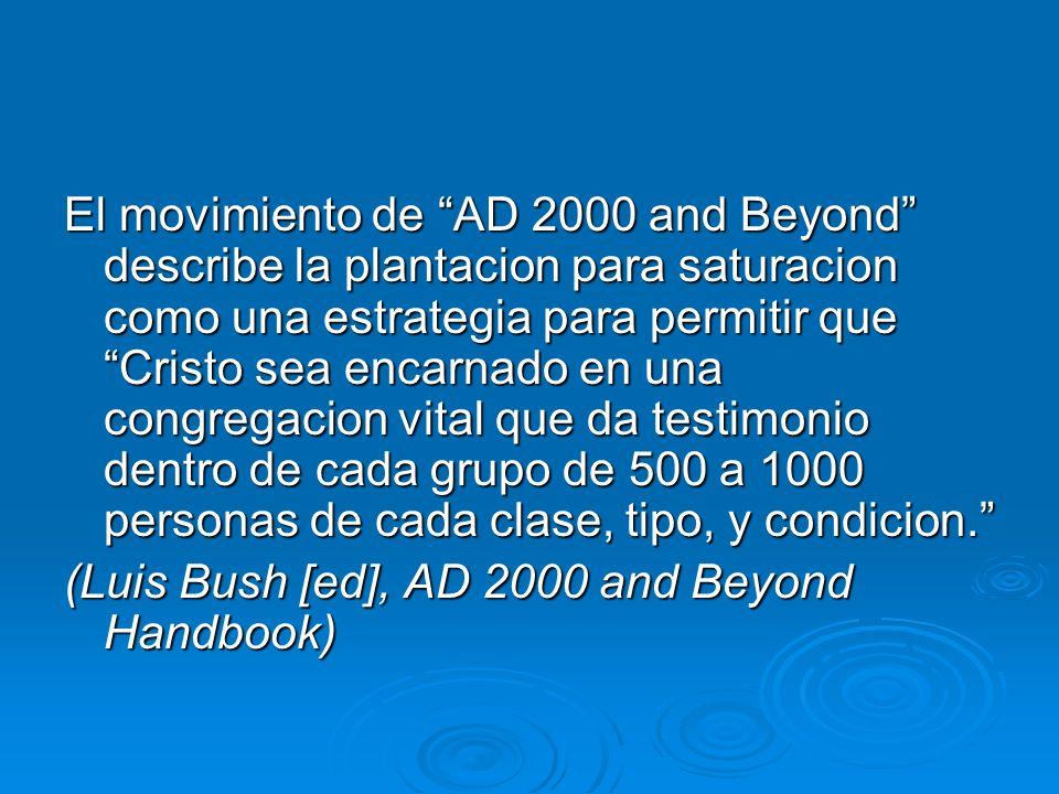 El movimiento de AD 2000 and Beyond describe la plantacion para saturacion como una estrategia para permitir que Cristo sea encarnado en una congregacion vital que da testimonio dentro de cada grupo de 500 a 1000 personas de cada clase, tipo, y condicion.