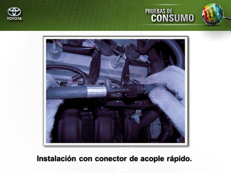 Instalación con conector de acople rápido.