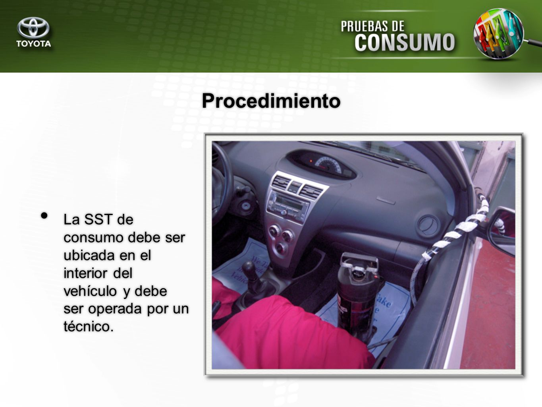 Procedimiento La SST de consumo debe ser ubicada en el interior del vehículo y debe ser operada por un técnico.