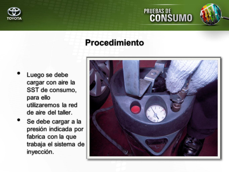 Procedimiento Luego se debe cargar con aire la SST de consumo, para ello utilizaremos la red de aire del taller.