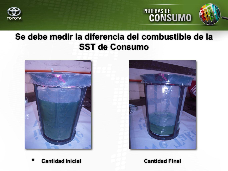 Se debe medir la diferencia del combustible de la SST de Consumo