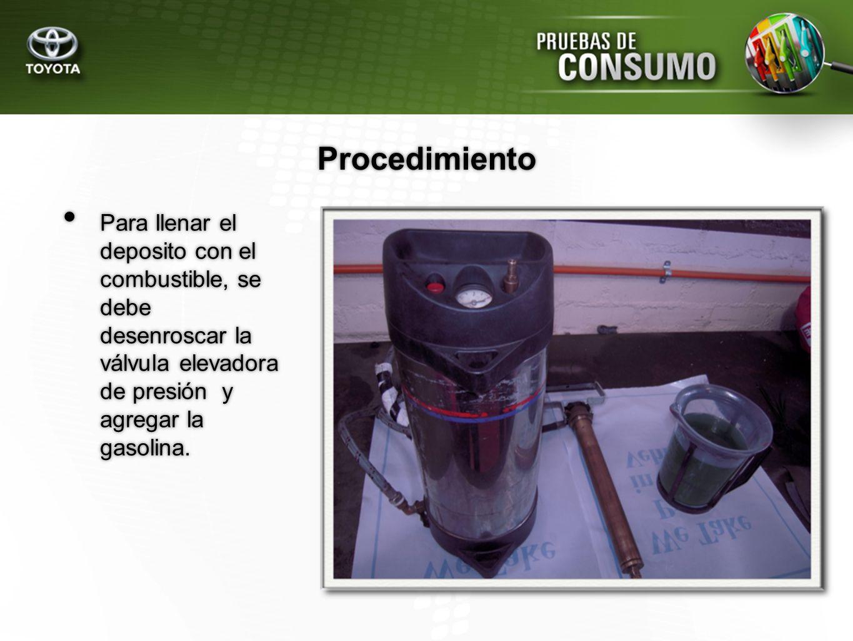ProcedimientoPara llenar el deposito con el combustible, se debe desenroscar la válvula elevadora de presión y agregar la gasolina.