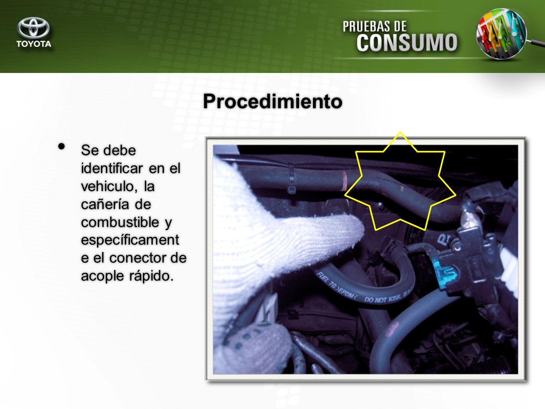 ProcedimientoSe debe identificar en el vehiculo, la cañería de combustible y específicament e el conector de acople rápido.