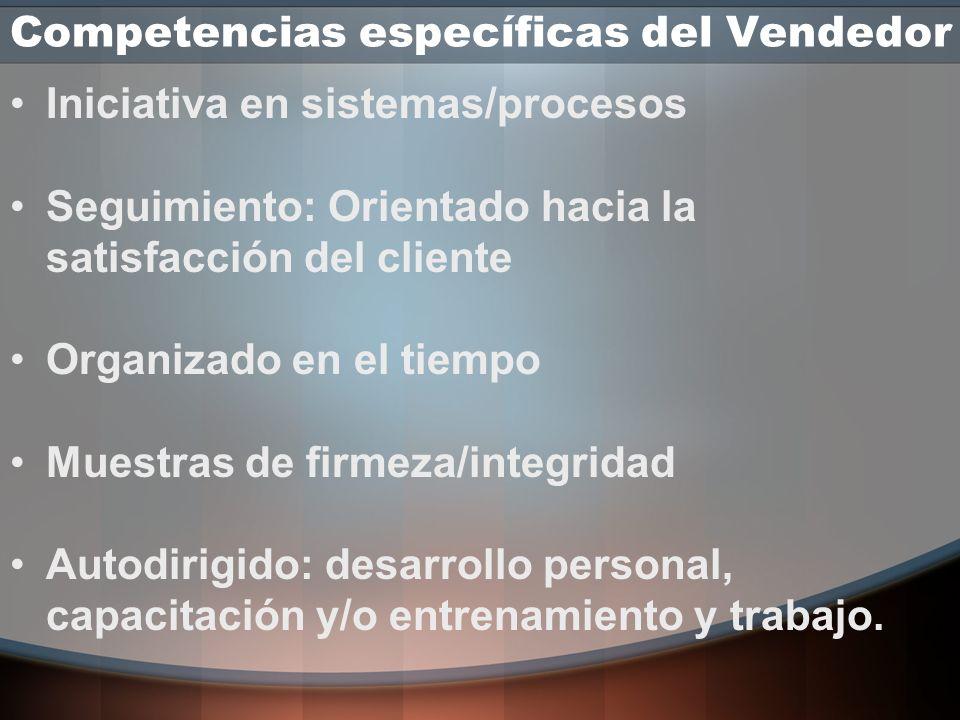 Competencias específicas del Vendedor