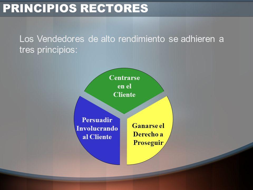 PRINCIPIOS RECTORES Los Vendedores de alto rendimiento se adhieren a tres principios: Centrarse en el Cliente.