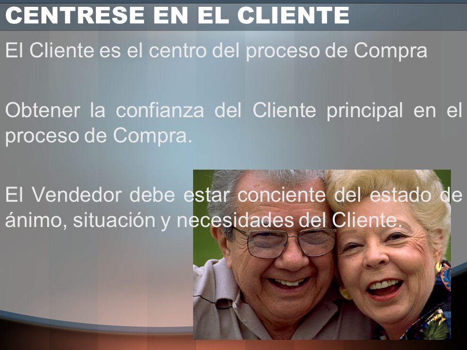 CENTRESE EN EL CLIENTE El Cliente es el centro del proceso de Compra