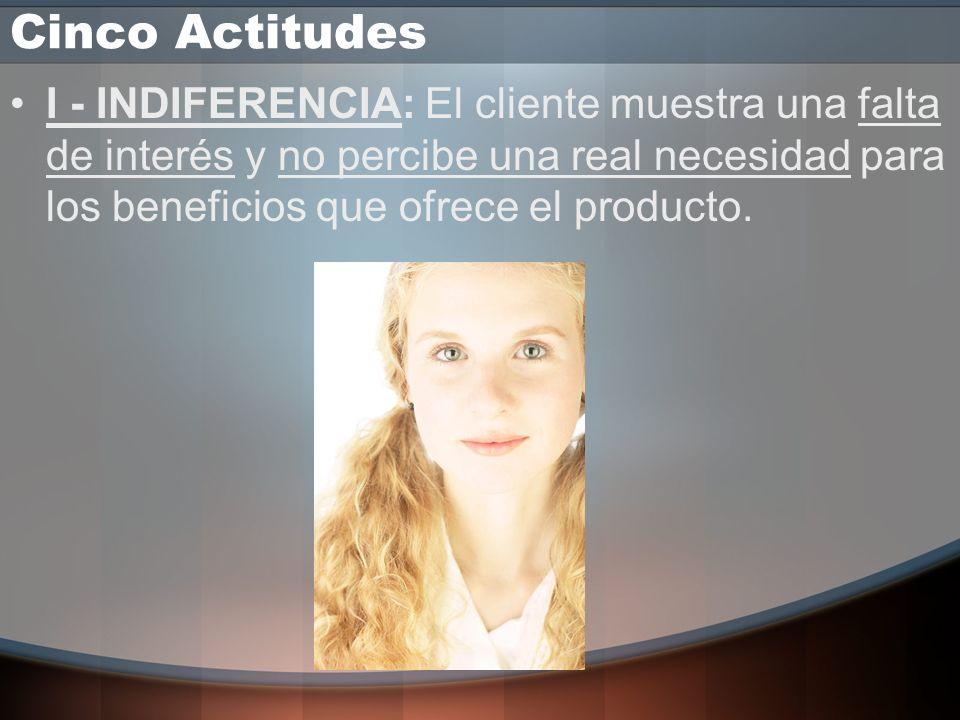 Cinco Actitudes I - INDIFERENCIA: El cliente muestra una falta de interés y no percibe una real necesidad para los beneficios que ofrece el producto.