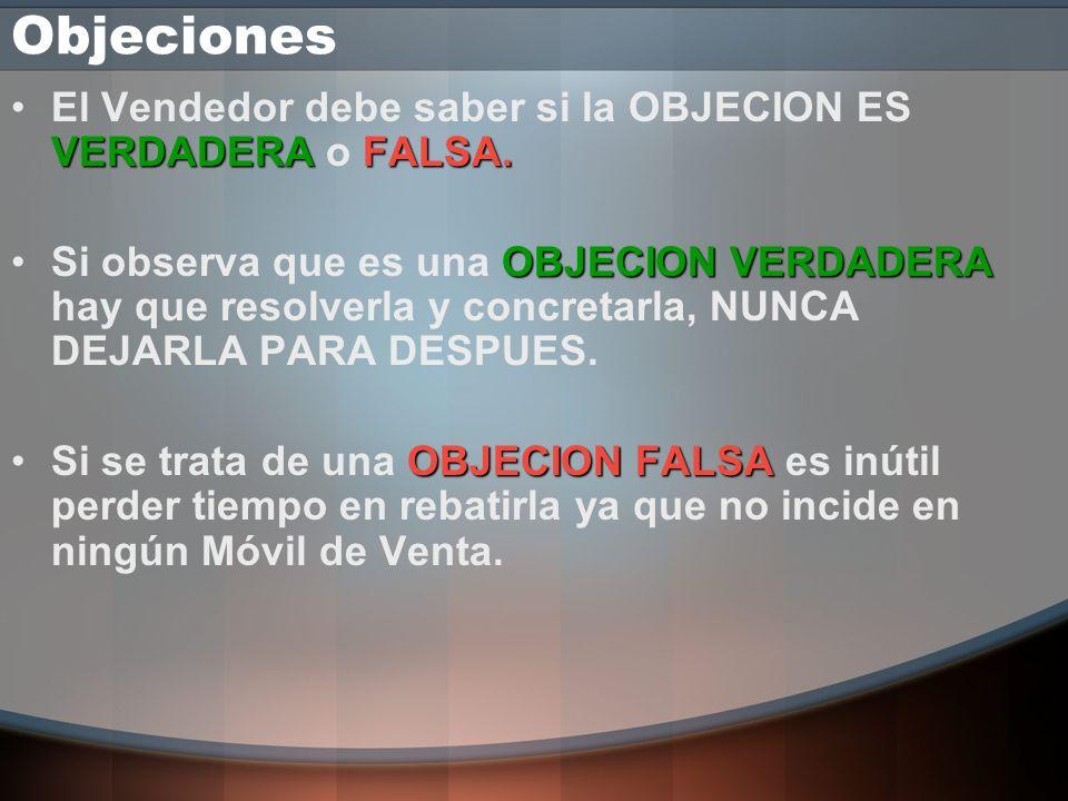 Objeciones El Vendedor debe saber si la OBJECION ES VERDADERA o FALSA.