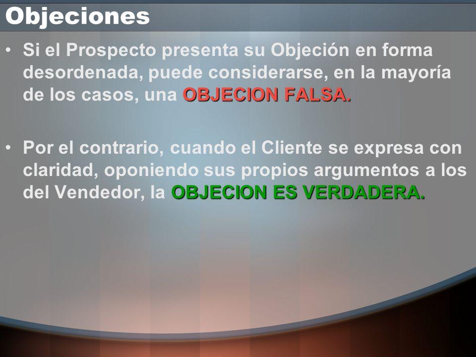 Objeciones Si el Prospecto presenta su Objeción en forma desordenada, puede considerarse, en la mayoría de los casos, una OBJECION FALSA.
