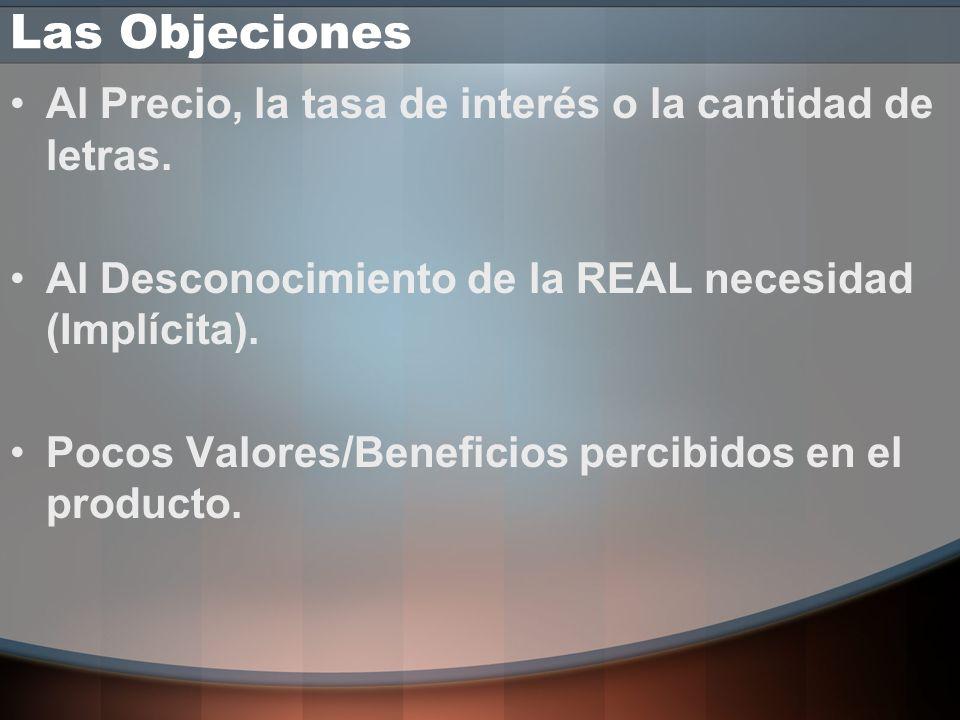 Las Objeciones Al Precio, la tasa de interés o la cantidad de letras.