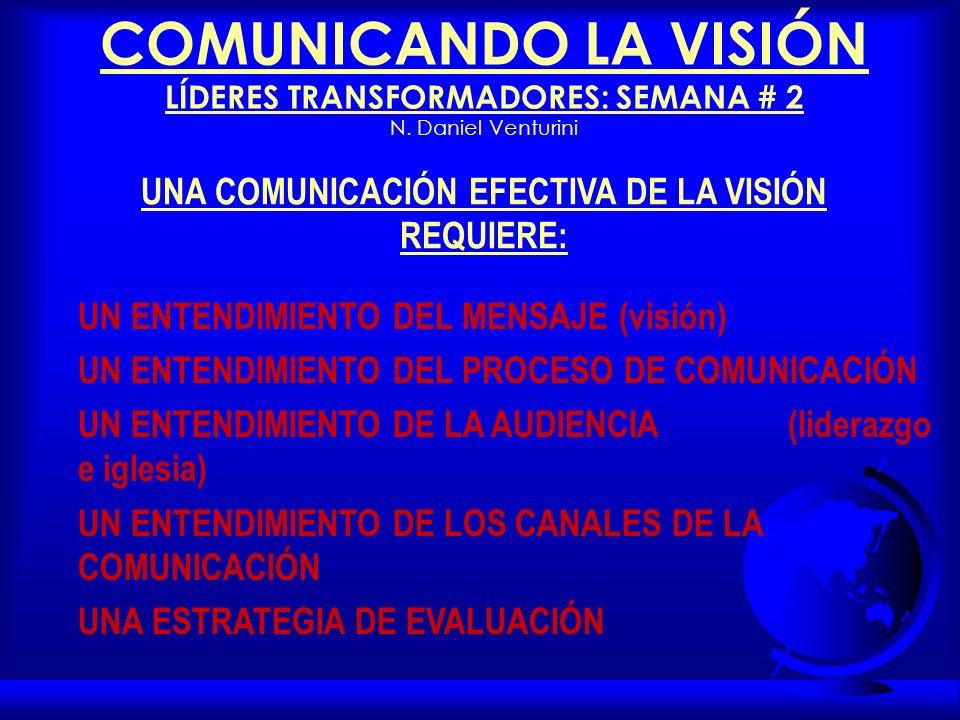 UNA COMUNICACIÓN EFECTIVA DE LA VISIÓN REQUIERE: