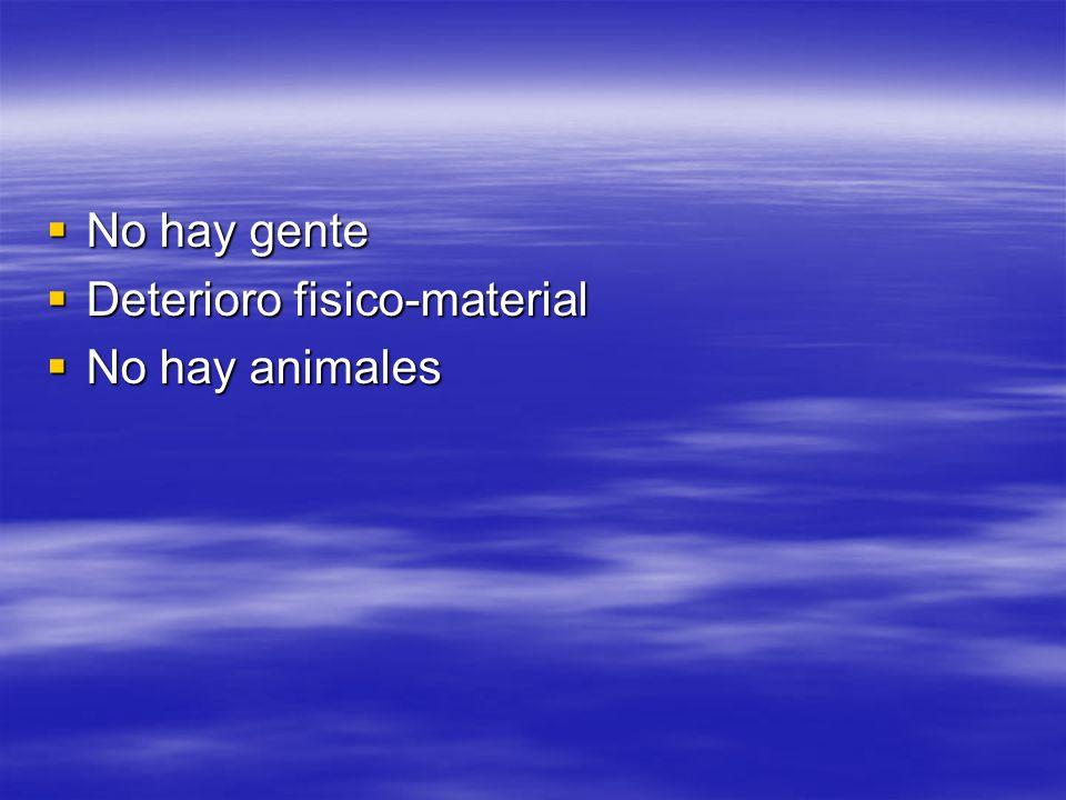 No hay gente Deterioro fisico-material No hay animales