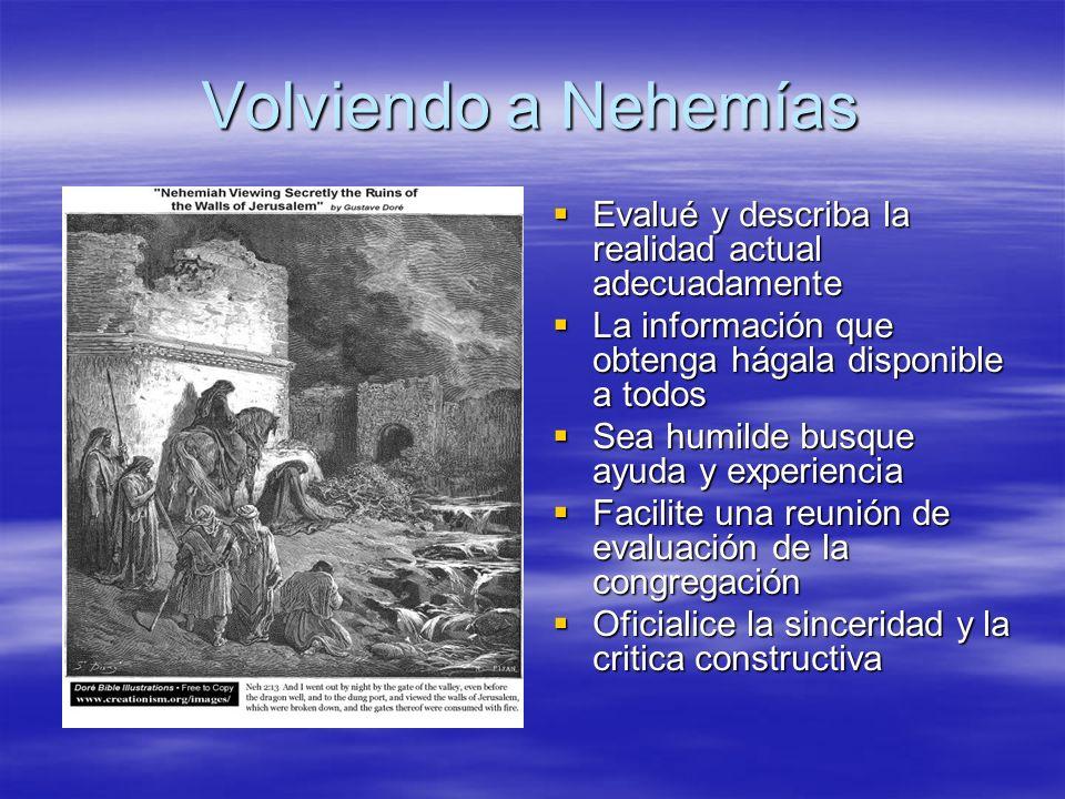 Volviendo a Nehemías Evalué y describa la realidad actual adecuadamente. La información que obtenga hágala disponible a todos.