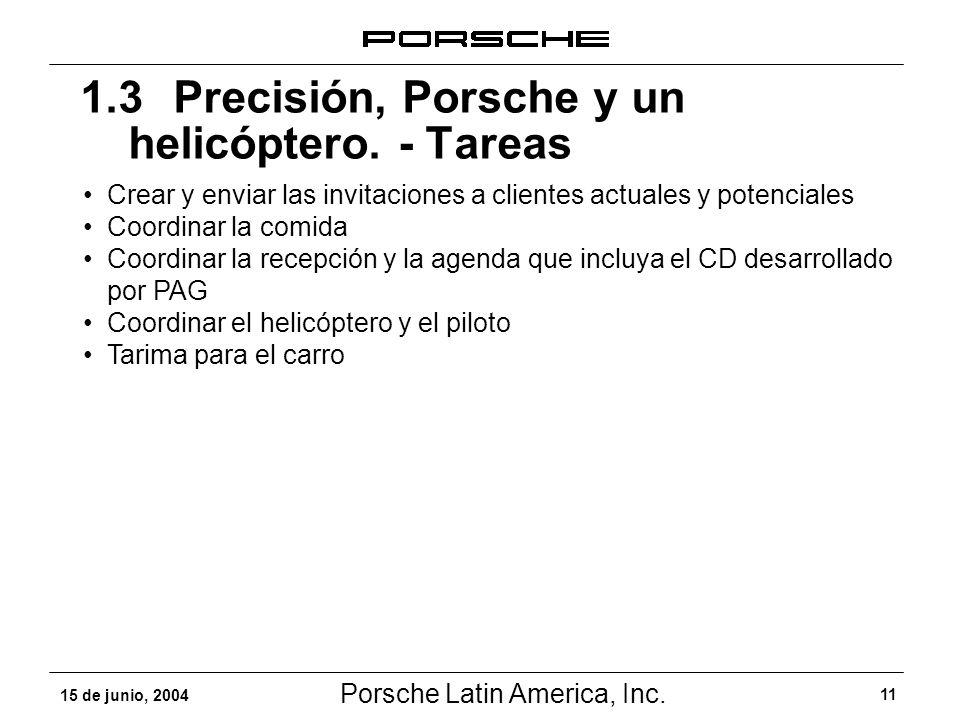 1.3 Precisión, Porsche y un helicóptero. - Tareas