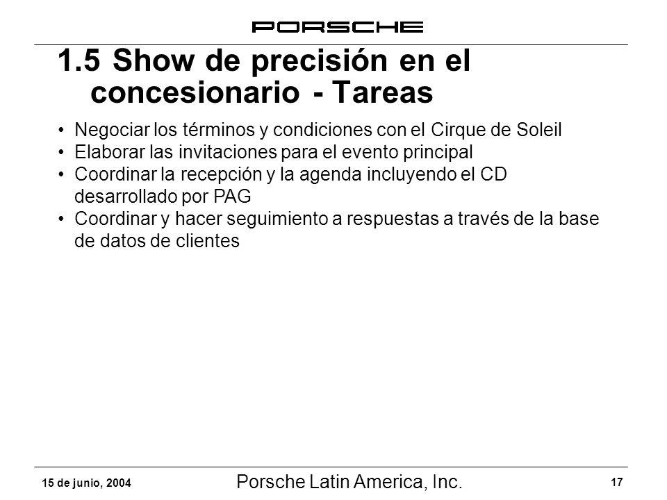 1.5 Show de precisión en el concesionario - Tareas