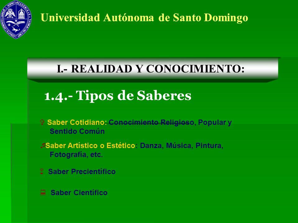 1.4.- Tipos de Saberes Universidad Autónoma de Santo Domingo