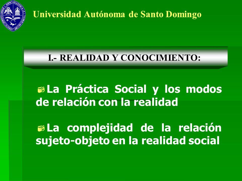 La Práctica Social y los modos de relación con la realidad