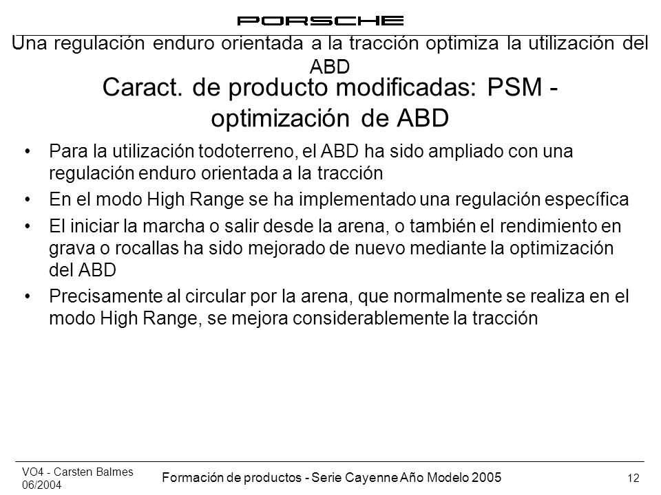 Caract. de producto modificadas: PSM - optimización de ABD
