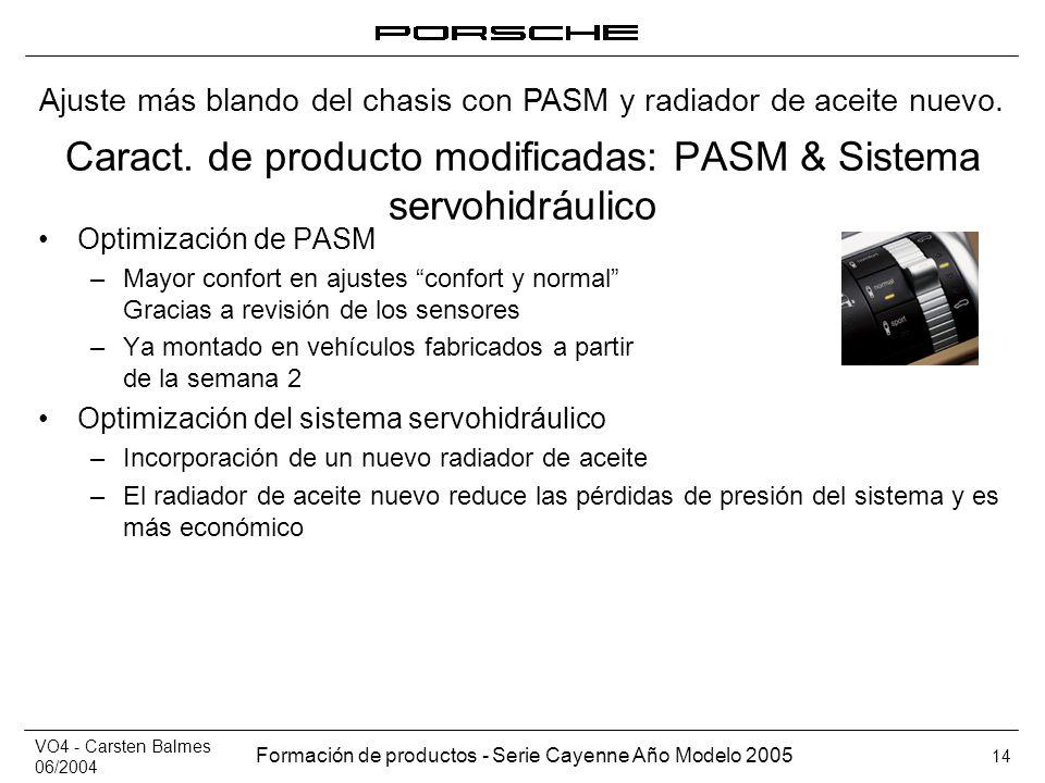 Caract. de producto modificadas: PASM & Sistema servohidráulico